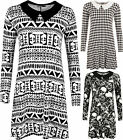 New Womens Long Sleeve Flared Print Ladies Collar Knee Length Swing Dress 8-14