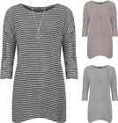 Plus Womens Knitted Baggy Dress Top Ladies Necklace Long Sleeve Knee Length