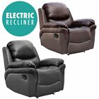 MADISON ELECTRIC REAL LEATHER AUTO RECLINER ARMCHAIR SOFA HOME LOUNGE CHAIR