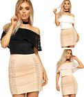 Womens Lace Tiered Bardot Crop Top Ladies Off Shoulder Sleeveless Stretch 8-14