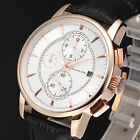 KS Men's Luxury Automatic Mechanical Date Day Display Leather Sport Wrist Watch