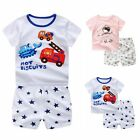 2Pcs Baby Kids Boys Girls Outfits Casual Cotton T-shirt + Shorts Pants Set 4M-5Y