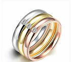 3 layers Silver Gold Rose Gold Rhinestones A set stainless steel Rings Jewelry