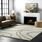 nuLOOM Shaggy Curves Design Contemporary Modern Shag Area Rug in Cream Color