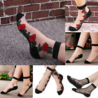5 Pairs Women Rose Flower Lace Crystal Glass Silk Floral Transparent Short Socks