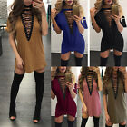 US Women Choker V Neck Casual Loose Tops T-Shirt Lace-up Plunge Mini Party Dress
