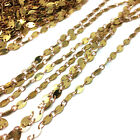 Raw Brass Flat Oval Bead Connected Chain Soldered Oval Links Beaded 3.3x5mm