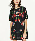 Fashion Women Black Floral Embroidery Short Sleeve Shirt Mini Dress Bloggers Fav