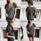 Women Camouflage V Neck Short Sleeve Tank Crop Tops Blouse T-Shirt Camo Clothes