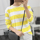 new able girl loose collar round neck striped long sleeve T-shirt