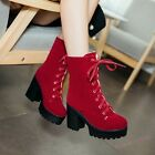 Gothic Womens Chunky Heels Platform Lace Up Motorcycle Punk Ankle Boot US Size