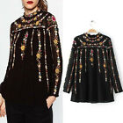 Women Vintage Flower Embroidery Stand Collar Black Chiffon Blouse Top T-Shirt