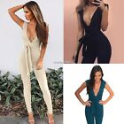 New Fashion Women Deep V Neck Tie Waist Party Clubwear Jumpsuit Playsuit N4U8