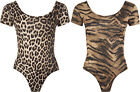 New Ladies Animal Print Stretch Bodysuit Womens Leopard Short Sleeve Top