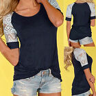 1PC Women Ladies Blouse Casual Lace Shirt Short Sleeve Summer T-shirt Tops US