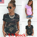 Women Short Sleeve Camouflage Shirt Casual Blouse Tops Lady Camo T Shirt Tee USA