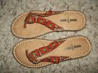 NWOB Red Beaded Brown Suede MINNETONKA Sandals Size 5