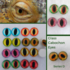 7 PAIR 10mm to 14mm Glass Cabochon Eyes Dragons, Cats, Jewelry, Sculpture, CAB-1