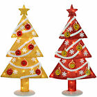 Pre-Lit Tinsel Christmas Tree Decoration Fairy Lights 7 Gold Baubles Gold Red