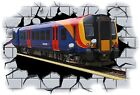 Huge 3D Tube Train Crashing through wall View Wall Sticker Mural Decal Film 73