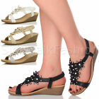 Womens ladies low mid heel wedge slingback flower diamante summer sandals size