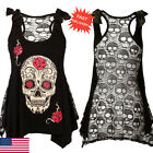Fashion Womens Blouse  Skull Printed Sleeveless T-Shirt Lace Patchwork Shirt Top