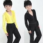 Boys Latin Salsa dancing Top+Pants Kids Ballroom Competition dance Costumes