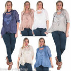 New Womens Lagenlook Sequin Floral Lace Scarf Blouse Top Plus Size 10 12 14 16