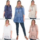 New Womens Lagenlook Sequins 3D Floral Lace Scarf Top Plus Size UK 10 12 14 16