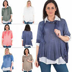 New Womens Italian Lagenlook Scarf Shirt Ladies Tunic Top Plus Size 12 14 16 18