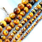 """Natural Gold Tigereye Faceted Round Beads 15"""", 3,4,6,8,10mm, pick your size"""