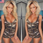 Camouflage Women's Sleeveless Bodycon Casual Playsuit Short Rompers Jumpsuits US