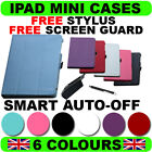 IPAD MINI LEATHER FRONT REAR SMART CASE COVER STAND SCREEN PROTECTOR STYLUS BACK