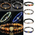 Men Fashion Black Lava Stone Gold&Silver Lion Beaded Cuff Charm Bangle Bracelets