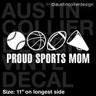 "11"" SPORTS MOM Vinyl Decal Car Sticker - Baseball Basketball Football Cheer"