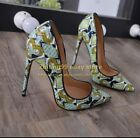Pointed Toe Womens Pumps Green Graffi Skin High Heel Stilettos Party Shoes Night