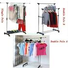Kyпить Single/Double Adjustable Portable Clothes Hanger Rolling Garment Rack Duty Rail на еВаy.соm