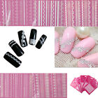 New 3D White Lace Crystal Nail Art Tips Nail Stickers Wraps Decal Manicure DIY