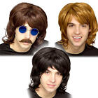 1970s Shag Wig Mens Fancy Dress 80s Hippie Hippy Groovy Adults Costume Accessory