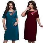Women Ladies Vintage Rose Embroidery Dress Evening Party Dress Plus Size New G49
