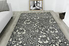Contemporary Soft Touch Grey Floral Rugs Small Large Non Shedding Modern Rugs