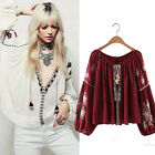 Women Vintage V Neck Embroidery Tasseled Ethnic Boho Hippie Loose Top Blouses