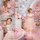 Fashion Flower Girl Dresses 2 Piece Dancing Gowns Lace White Ivory Pink Dress
