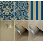 P&S CARAT BLUE & GOLD GLITTER WALLPAPER - DAMASK, STRIPE, GEOMETRIC & PLAIN