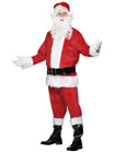Velour Santa Full Red Suit Christmas Fancy Dress Costume Black Boot Covers