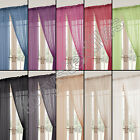 PAIR OF LUCY PLAIN SLOT TOP ROD POCKET VOILE READY MADE CURTAINS VIBRANT COLOURS
