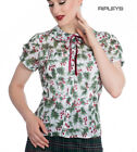 Hell Bunny Shirt Top Christmas Festive White HOLLY Berry Blouse All Sizes