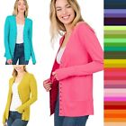 S M L XL Snap Button Front V Neck Cardigan Long Sleeve Stretch Knit Sweater *USA