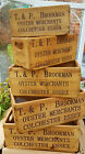 OYSTER  Merchants Name  Rustic Antique Vintage Style Wooden Boxes