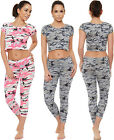 Womens Camouflage Co-Ord Suit Set Cropped Cap Sleeve Top Leggings Full Length